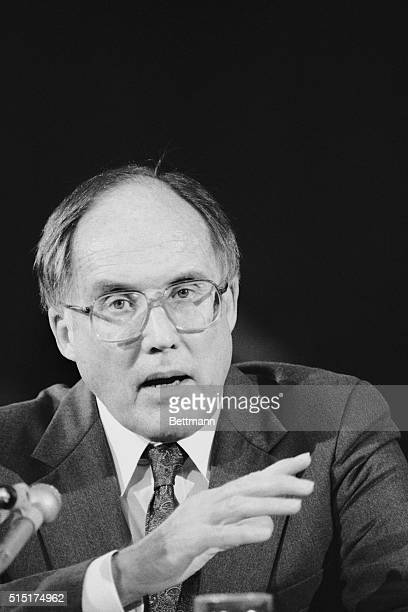 Washington, D.C.: Chief justice nominee William Rehnquist testifies before at his confirmation hearing before the Senate Judiciary Committee. The...