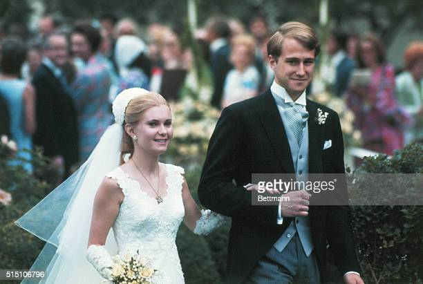 close up of bride and groom Edward Finch Cox and Tricia Nixon after they exchanged wedding vows in a White House rose garden ceremony The bride is...