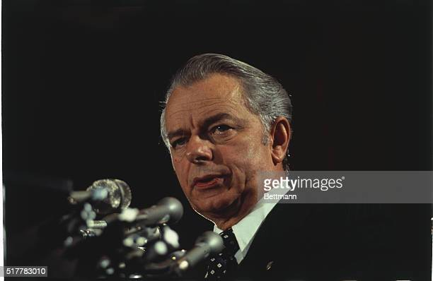 Close up of Senator Robert Byrd of West Virginia as he announces he is a candidate for the Democratic presidential nomination
