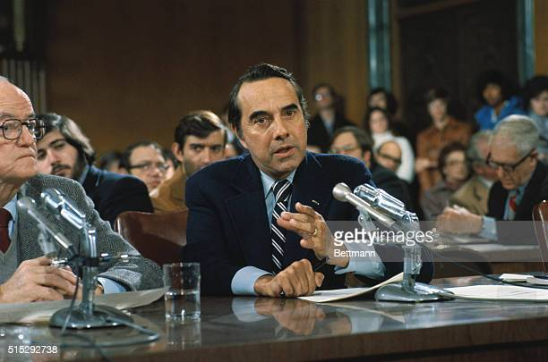 Closeups of Senator Robert Dole as he appears before committee