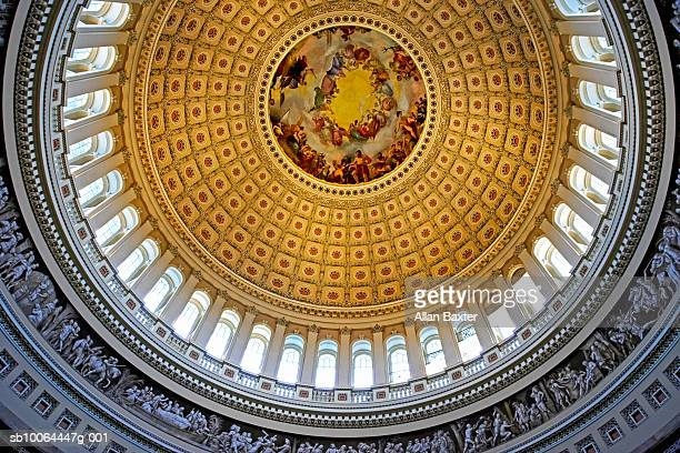 USA, Washington DC, Dome of Capitol Building, interior, view from below