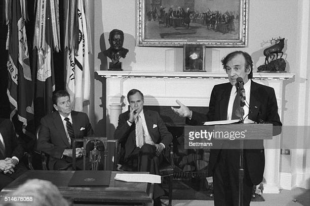4/19/1985 Washington DC Elie Wiesel the literary conscience of the Jewish Holocaust makes an emotional plea for President Reagan to cancel his...