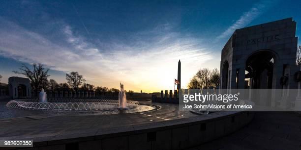 Washington D.C., Fountains and World War II Memorial at Sunrise.