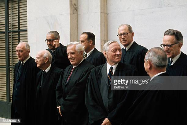 Group photograph of the US Supreme Court Justices The newest justice Harry Andrew Blackmun took his seat June 9 succeeding Abe Fortas who resigned...