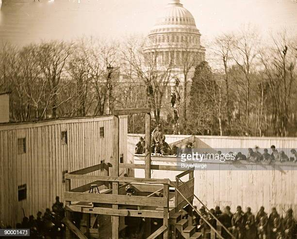 Washington DC Hooded body of Captain Wirz hanging from the scaffold