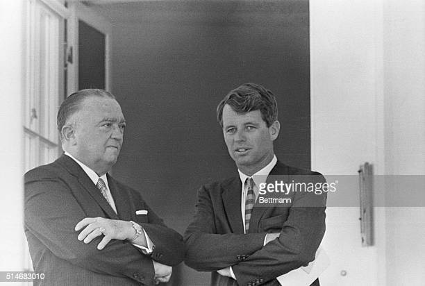 Washington, DC: J. Edgar Hoover , Director of the FBI, chats with then Attorney General Robert Kennedy during a White House ceremony on May 7th, 1963.