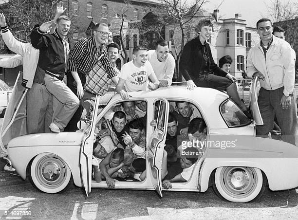 4/6/1959 Washington DC Jam session Packing'em in members of the Delta Tau Delta fraternity at George Washington University crowd in around and on top...