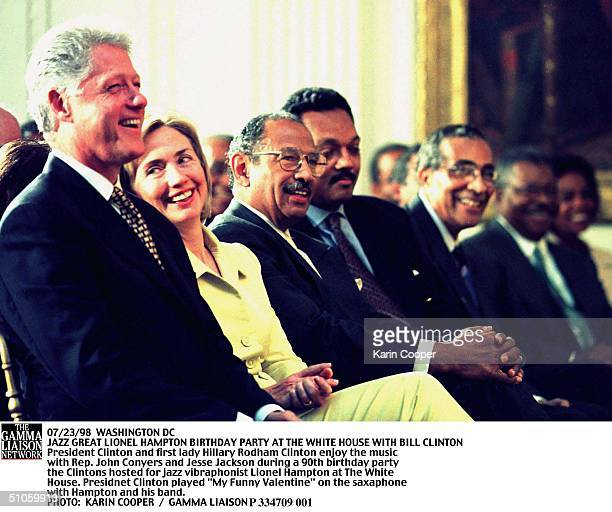 Washington Dc Jazz Great Lionel Hampton Birthday Party At The White House With Bill Clinton President Clinton And First Lady Hillary Rodham Clinton...