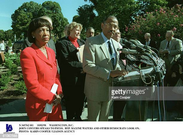 Washington DC John Conyers Speaks To Press Rep Maxine Waters And Other Democrats Look On