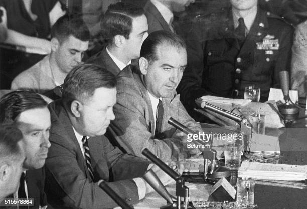 Washington, DC: Joseph McCarthy hearings in Washington. In background, Roy Cohn. Photograph, c. 1954.