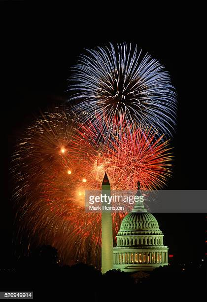 Washington DC July 4th 1993 Fireworks light up the skies over the US Capitol and the Washington Monument These pictures were taken from on top of the...