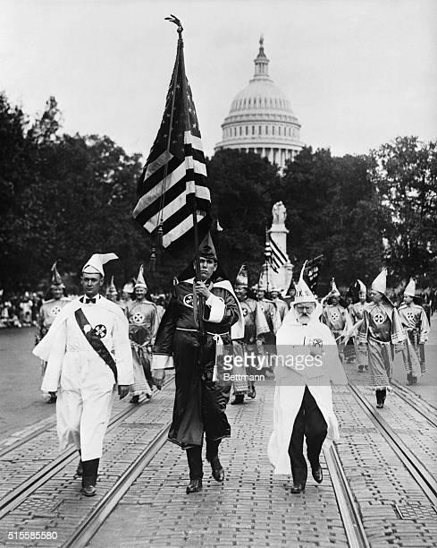 Ku Klux Klan parade On the right is J M Fraser member of the original Klan Undated photo