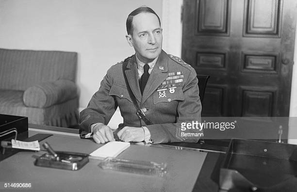 Washington DC MacArthur at desk New head of Uncle Sam's Army on duty Major General MacArthur as he appeared at his desk just after being sworn in as...