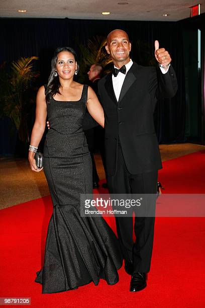Washington DC Mayor Adrian Fenty and his wife Michelle Fenty arrive at the White House Correspondents' Association dinner on May 1 2010 in Washington...
