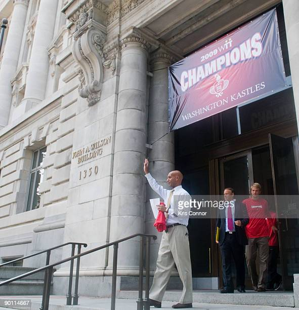Washington DC mayor Adrian Fenty and Washington Kastles owner Mark Ein during a press conference at the John A Wilson Building as he presents the...