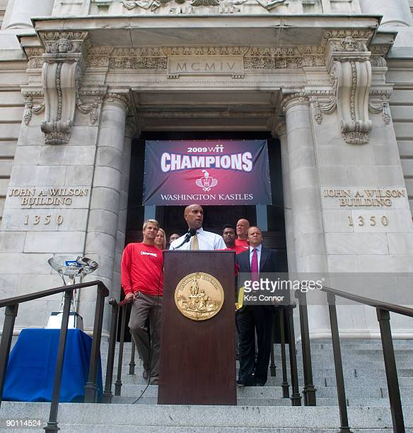 Washington DC Mayor Adrian Fenty during a press conference at the John A Wilson Building as he presents the Washington Kastles team with a key to the...