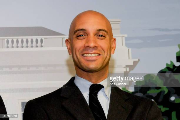 Washington DC Mayor Adrian M Fenty poses for a photo during the unveiling ceremony for the 9 new US President wax figures at Madame Tussauds on...