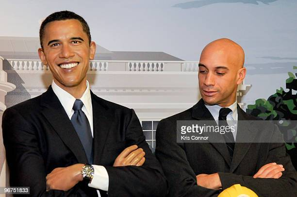 Washington DC Mayor Adrian M Fenty poses with a wax figure of President Obama during the unveiling ceremony for the 9 new US President wax figures at...