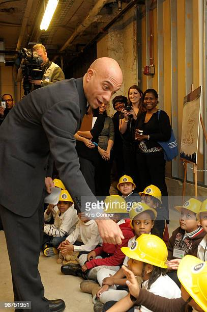 Washington DC Mayor Adrian M Fenty shakes hands with students from the Clevend School located in Washington DC during the unveiling ceremony for the...