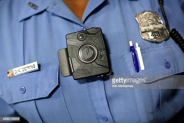 """Washington DC Metropolitan Police Officer Debra Domino wears one of the new """"body-worn cameras"""" that the city's officers will begin using during a..."""