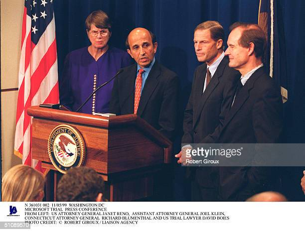 Washington Dc Microsoft Trial Press Conference From Left: Us Attorney General Janet Reno, Assistant Attorney General Joel Klein, Connecticut Attorney...