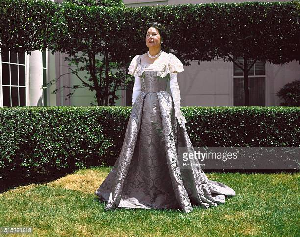 Washington, DC.: Mrs. Arthur Summerfield. Mrs. Arthur Summerfield, who portrays Mrs. Theodore Roosevelt, wears a reproduction of that First Lady's...