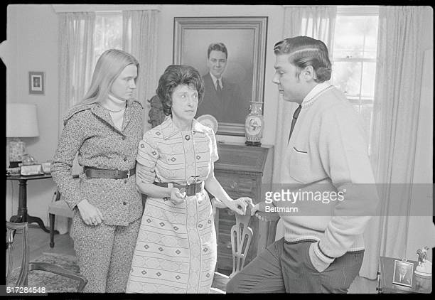 Mrs Hale Boggs with her son Tommy and daughter Mrs Barbara Sigmund of Princeton NJ wait at the Boggs home in nearby Bethesda Md for work of the...