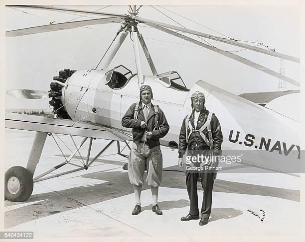 Navy Secretary Flies To President's Camp In Autogiro David S Ingalls left Assistant Secretary of the Navy for Aeronautics leaving the Naval Air...