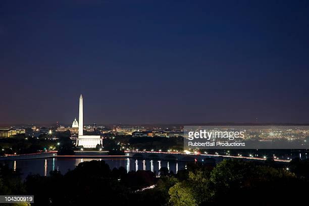 USA, Washington DC, Night skyline of city