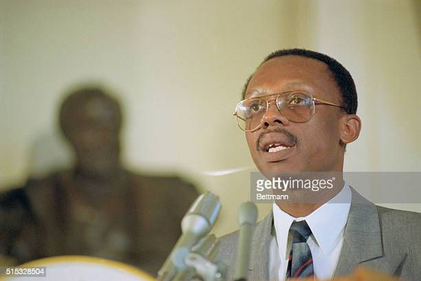 Ousted Haitian President Jean Bertrand Aristide speaks during an emergency session of the Organization of American States October 2