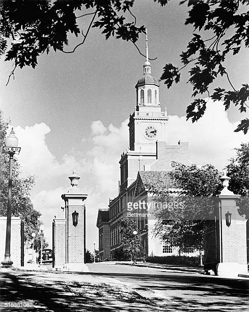 Photo shows an exterior view of Founders Library Howard University Washington DC Undated photograph