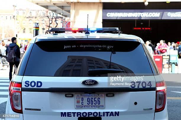 Washington DC police vehicle sits outside the Verizon Center home of the Washington Wizards basketball team Washington Capitals hockey team and...