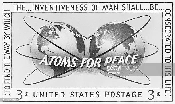 """Washington, D.C.: Postmaster General Arthur E. Summerfield announced that a special 3-cent stamp to commemorate """"Atoms for Peace"""" will be first..."""