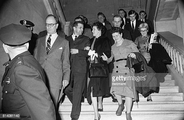 3/6/1962 Washington DC Powers and sisters leave hearing U2 pilot Francis Gary Powers and his two sisters Mrs Jannis Melvin of Falls Church Va and Mrs...