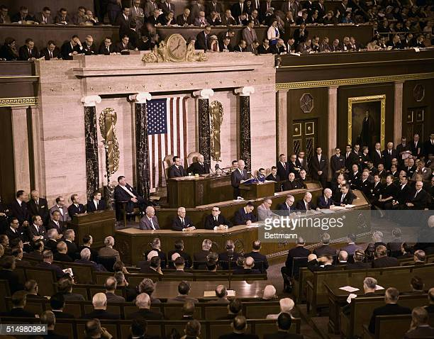 Pres Eisenhower delivers State of the Union address before joint session of Congress