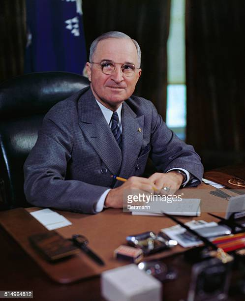 President Harry S Truman as he proclaims VJ Day