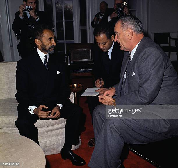 President Johnson confers with Emperor Haile Selassie at the White House