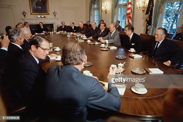 President Nixon briefed members of Cabinet on new Vietnam proposals which he will disclose to the nation on a television address later Clockwise...