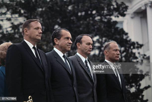 "President Nixon welcomed the Apollo 11 astronauts home from a 37 day world trip as ""the best ambassadors America ever had in history."" Standing on an..."