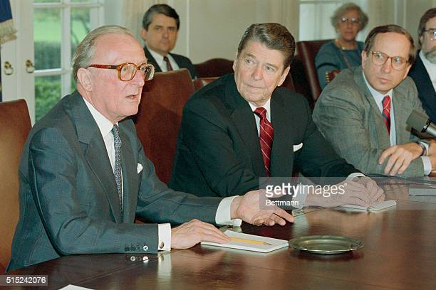 Washington, DC: President Reagan listens as Lord Carrington, Secretary General of NATO, makes a point during a meeting in the Cabinet Room, April 2....