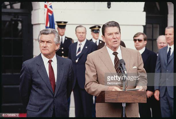 President Ronald Reagan stands with Australian Prime Minister Robert Hawke in the Rose Garden outside of the White House