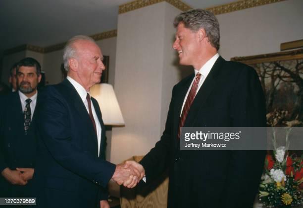 Washington D.C., Prime minister Yitzhak Rabin on a U.S. Tour - Meeting with Bill Clinton.