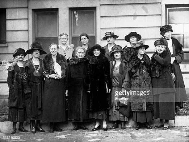 12/1921 Washington DC Prominent women assembled in Washington to discuss World Arms Affairs held their first meeting recently Front row left to right...