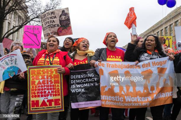 Protestors march as part of the Women's March which nationwide campaigned for legislation and policies regarding human rights women's rights...
