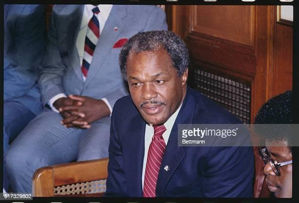 Samuel Doe President of Liberia in Washington with Marion Barry Mayor of Washington D C