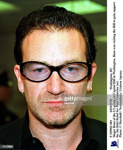 Washington DC Singer Bono of the U2 group on Capitol Hill in Washington Bono was visiting the Hill to gain support for the Debt Relief for Poor...