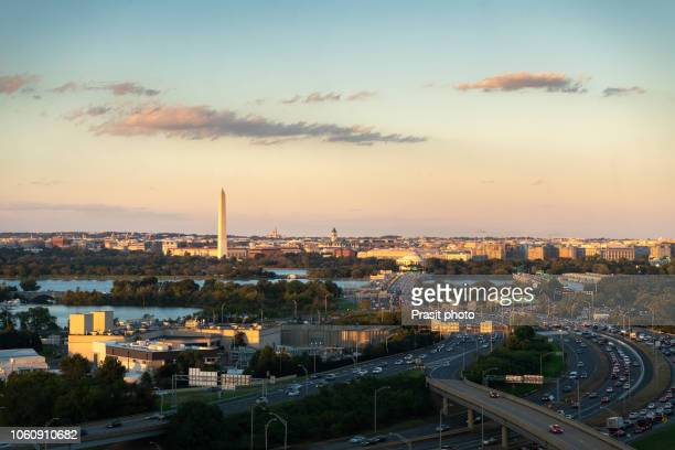 washington d.c. skyline with highways and monuments in usa. - washington dc stock pictures, royalty-free photos & images
