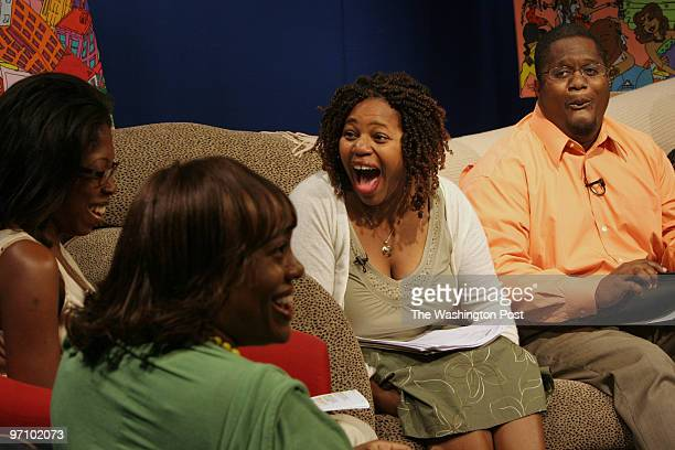 Washington DC Talk show guest Esther Abu at left The Urban Flow host Kathy Nicole Mitchell Robyn Thorpe and DeLano McRavin on a local television show...