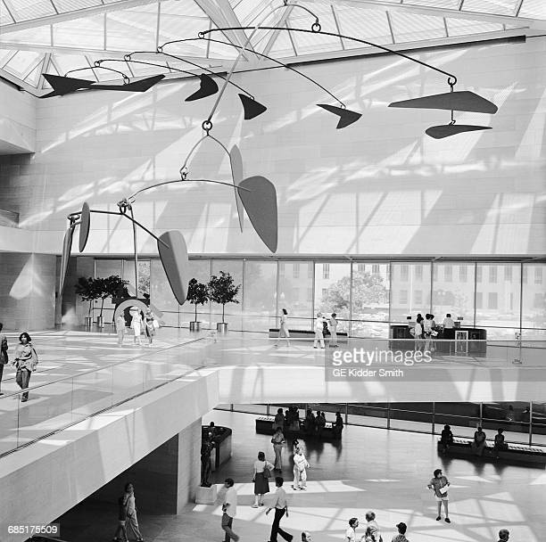The National Gallery East Wing interior view of atrium with Calder mobile hanging underneath the skylights Built in 1978 by architect IM Pei