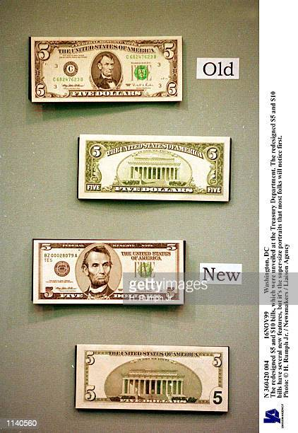 Washington DC The redesigned $5 and $10 bills which were unveiled at the Treasury Department The redesigned $5 and $10 bills have several new...